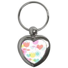 Tulip Lotus Sunflower Flower Floral Staer Love Pink Red Blue Green Key Chains (heart)  by Mariart