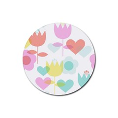 Tulip Lotus Sunflower Flower Floral Staer Love Pink Red Blue Green Rubber Coaster (round)
