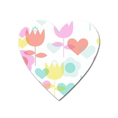 Tulip Lotus Sunflower Flower Floral Staer Love Pink Red Blue Green Heart Magnet by Mariart