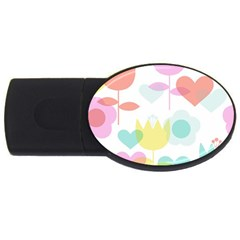 Tulip Lotus Sunflower Flower Floral Staer Love Pink Red Blue Green Usb Flash Drive Oval (2 Gb) by Mariart