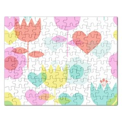 Tulip Lotus Sunflower Flower Floral Staer Love Pink Red Blue Green Rectangular Jigsaw Puzzl by Mariart