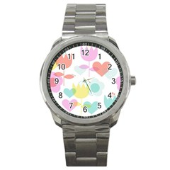 Tulip Lotus Sunflower Flower Floral Staer Love Pink Red Blue Green Sport Metal Watch by Mariart