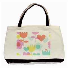 Tulip Lotus Sunflower Flower Floral Staer Love Pink Red Blue Green Basic Tote Bag (two Sides) by Mariart