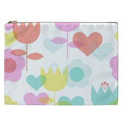 Tulip Lotus Sunflower Flower Floral Staer Love Pink Red Blue Green Cosmetic Bag (xxl)  by Mariart