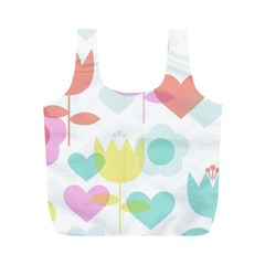 Tulip Lotus Sunflower Flower Floral Staer Love Pink Red Blue Green Full Print Recycle Bags (m)  by Mariart