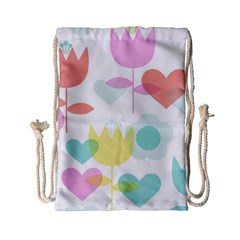 Tulip Lotus Sunflower Flower Floral Staer Love Pink Red Blue Green Drawstring Bag (small) by Mariart