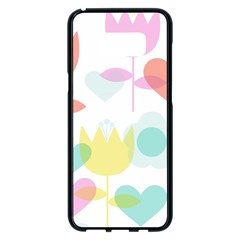Tulip Lotus Sunflower Flower Floral Staer Love Pink Red Blue Green Samsung Galaxy S8 Plus Black Seamless Case by Mariart