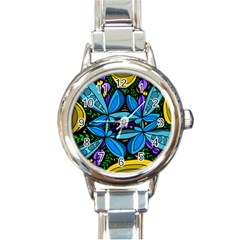 Star Polka Natural Blue Yellow Flower Floral Round Italian Charm Watch