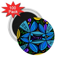 Star Polka Natural Blue Yellow Flower Floral 2 25  Magnets (100 Pack)  by Mariart