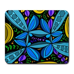 Star Polka Natural Blue Yellow Flower Floral Large Mousepads by Mariart