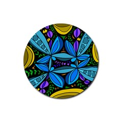 Star Polka Natural Blue Yellow Flower Floral Rubber Coaster (round)  by Mariart
