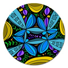 Star Polka Natural Blue Yellow Flower Floral Magnet 5  (round) by Mariart
