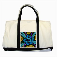 Star Polka Natural Blue Yellow Flower Floral Two Tone Tote Bag by Mariart