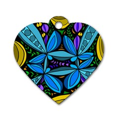 Star Polka Natural Blue Yellow Flower Floral Dog Tag Heart (two Sides) by Mariart