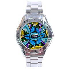 Star Polka Natural Blue Yellow Flower Floral Stainless Steel Analogue Watch