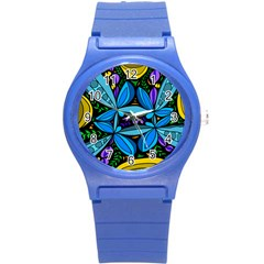 Star Polka Natural Blue Yellow Flower Floral Round Plastic Sport Watch (s)