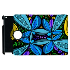 Star Polka Natural Blue Yellow Flower Floral Apple Ipad 3/4 Flip 360 Case by Mariart