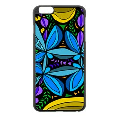 Star Polka Natural Blue Yellow Flower Floral Apple Iphone 6 Plus/6s Plus Black Enamel Case by Mariart