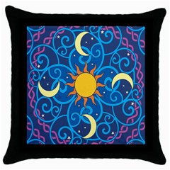 Sun Moon Star Space Vector Clipart Throw Pillow Case (black) by Mariart