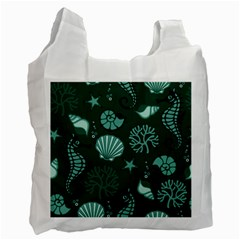 Vector Seamless Pattern With Sea Fauna Seaworld Recycle Bag (two Side)