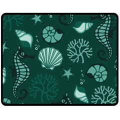 Vector Seamless Pattern With Sea Fauna Seaworld Fleece Blanket (medium)  by Mariart