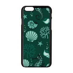 Vector Seamless Pattern With Sea Fauna Seaworld Apple Iphone 6/6s Black Enamel Case by Mariart