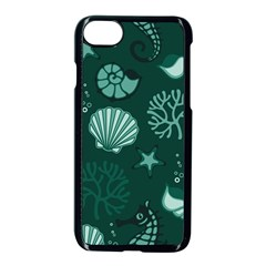 Vector Seamless Pattern With Sea Fauna Seaworld Apple Iphone 7 Seamless Case (black) by Mariart
