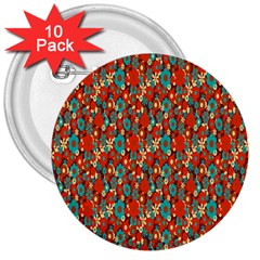Surface Patterns Bright Flower Floral Sunflower 3  Buttons (10 Pack)  by Mariart
