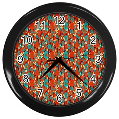 Surface Patterns Bright Flower Floral Sunflower Wall Clocks (black) by Mariart