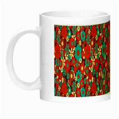 Surface Patterns Bright Flower Floral Sunflower Night Luminous Mugs by Mariart