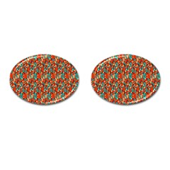 Surface Patterns Bright Flower Floral Sunflower Cufflinks (oval) by Mariart