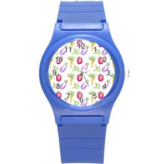 Vegetable Pattern Carrot Round Plastic Sport Watch (s) by Mariart