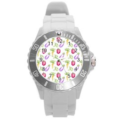 Vegetable Pattern Carrot Round Plastic Sport Watch (l) by Mariart