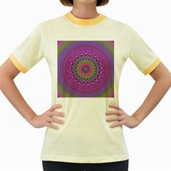 Art Mandala Design Ornament Flower Women s Fitted Ringer T-shirts by BangZart