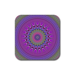 Art Mandala Design Ornament Flower Rubber Coaster (square)  by BangZart