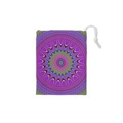 Art Mandala Design Ornament Flower Drawstring Pouches (xs)  by BangZart