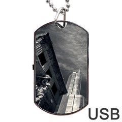 Chicago Skyline Tall Buildings Dog Tag Usb Flash (two Sides) by BangZart