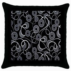 Floral Pattern Background Throw Pillow Case (black) by BangZart