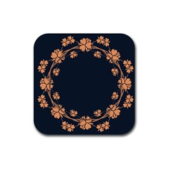 Floral Vintage Royal Frame Pattern Rubber Coaster (square)  by BangZart