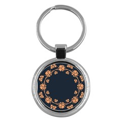 Floral Vintage Royal Frame Pattern Key Chains (round)  by BangZart