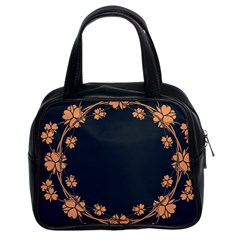 Floral Vintage Royal Frame Pattern Classic Handbags (2 Sides) by BangZart