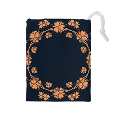 Floral Vintage Royal Frame Pattern Drawstring Pouches (large)