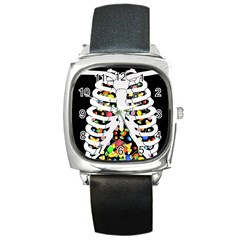 Trick Or Treat  Square Metal Watch by Valentinaart