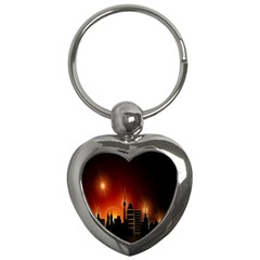 Gold Golden Skyline Skyscraper Key Chains (heart)  by BangZart