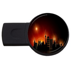 Gold Golden Skyline Skyscraper Usb Flash Drive Round (4 Gb) by BangZart