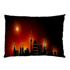Gold Golden Skyline Skyscraper Pillow Case
