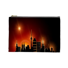 Gold Golden Skyline Skyscraper Cosmetic Bag (large)  by BangZart