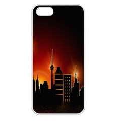 Gold Golden Skyline Skyscraper Apple Iphone 5 Seamless Case (white) by BangZart