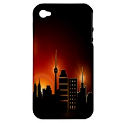 Gold Golden Skyline Skyscraper Apple Iphone 4/4s Hardshell Case (pc+silicone) by BangZart