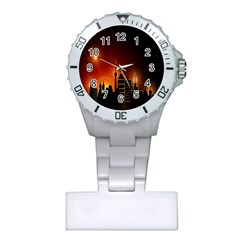 Gold Golden Skyline Skyscraper Plastic Nurses Watch